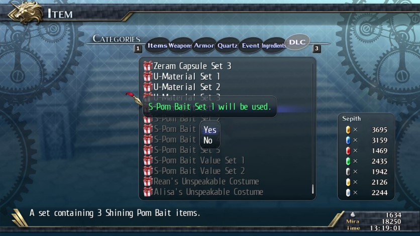 Screenshot 1 - The Legend of Heroes: Trails of Cold Steel II - Shining Pom Bait Set 1