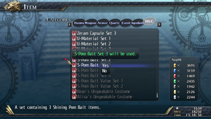 Screenshot 1 - The Legend of Heroes: Trails of Cold Steel II - Shining Pom Bait Set 3