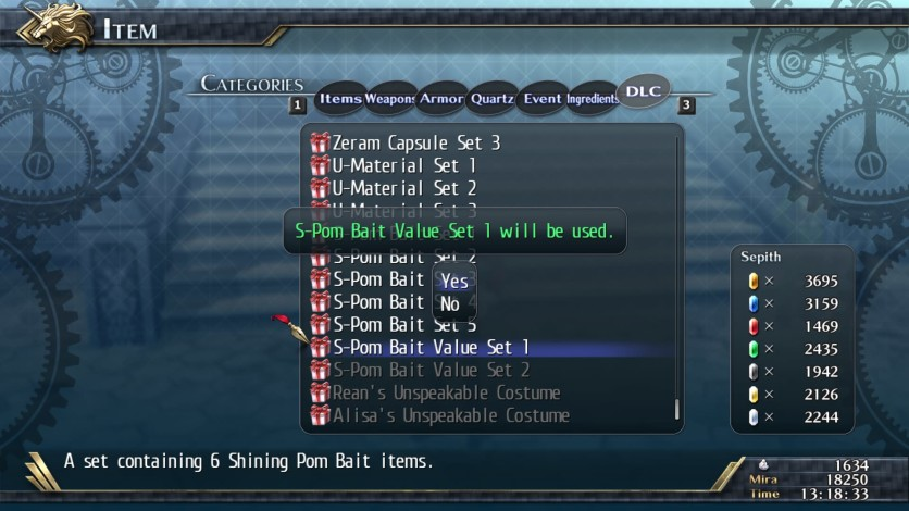 Screenshot 1 - The Legend of Heroes: Trails of Cold Steel II - Shining Pom Bait Value Set 1