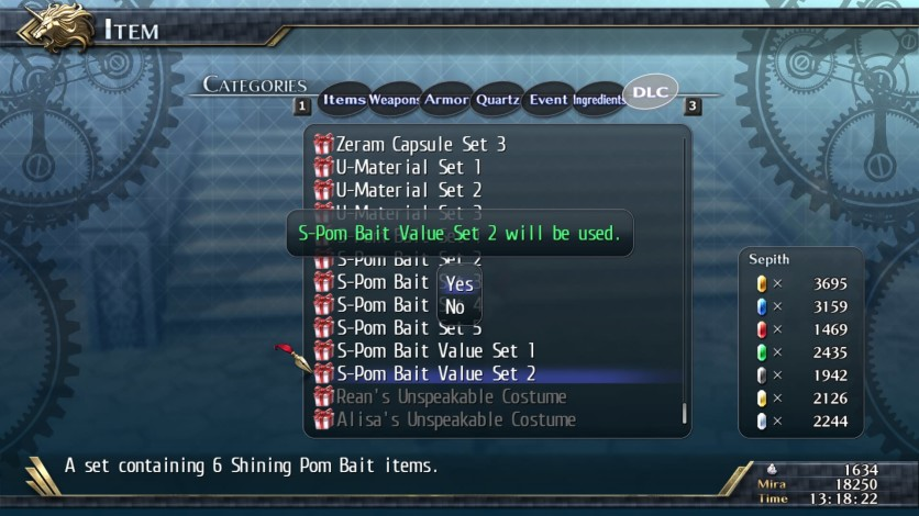Screenshot 1 - The Legend of Heroes: Trails of Cold Steel II - Shining Pom Bait Value Set 2